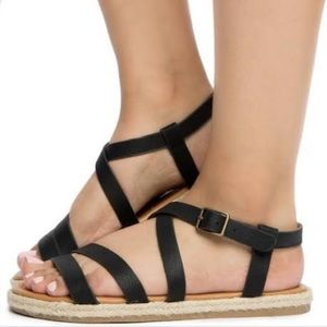 🆕Buckle Soda Faux Leather Gladiator Sandals